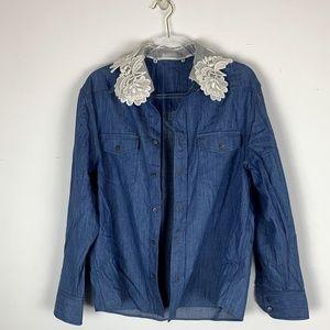 Denim Miu Miu Blouse w/add-on collar